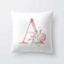 Taie d'oreiller en Polyester avec lettres, décoration de chambre d'enfants, Alphabet anglais, pour canapé, décoration de maison, fleur, 45x45cm