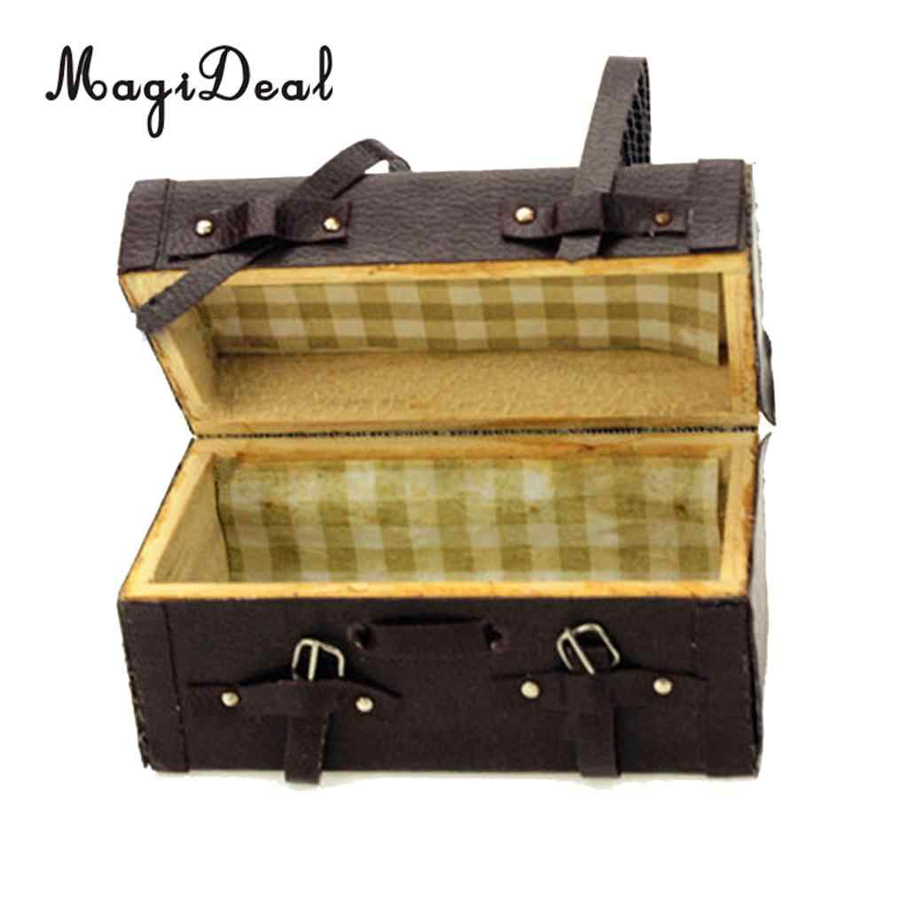 For 1:12 Scale Dollhouse Accessories Wood Miniature Luggage Box Case Black New