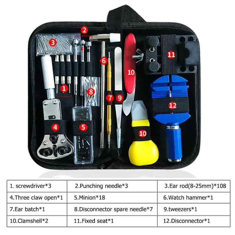 147 Pcs Watch Perbaikan Alat Kit Watch Link Pin Remover Case Pembuka Spring Bar Remover Horlogemaker Gereedschap Alat Perbaikan Kit