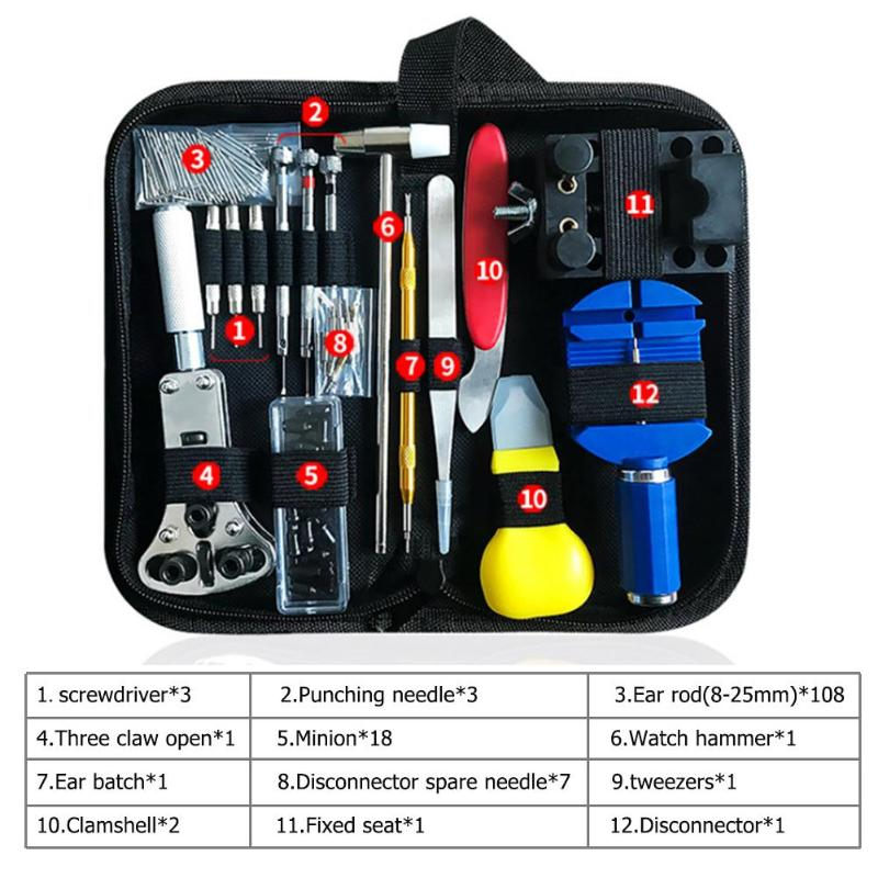 147 pçs ferramenta de reparo relógio kit link pino removedor caso abridor primavera barra removedor horlogemaker gereedschap kit de ferramentas de reparo