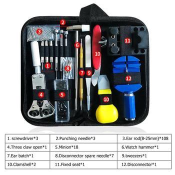 Kit de herramientas de reparación de relojes de 147 piezas, Kit de herramientas de reparación de broches