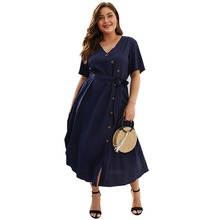 XL-4XL Plus Size Dress Women Elegant Celebrity Button Sashes High Waist Oversized Ladies Casual Sexy V-Neck Party Dresses