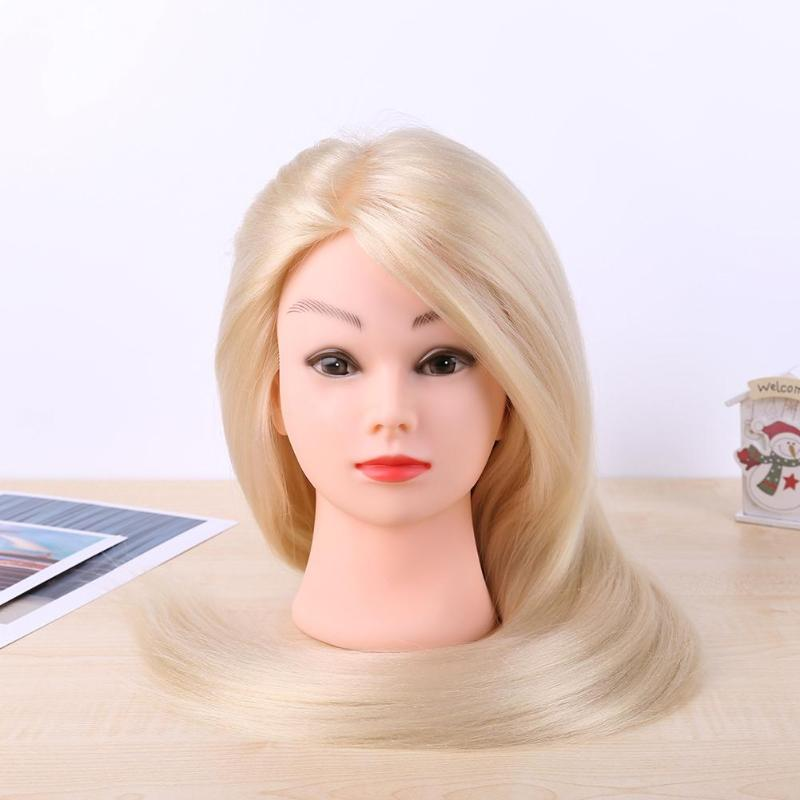 Hair Training Head Training Mannequin Head Model Fiber Hair Synthetic Hairdressing Mannequin Doll Practice Doll Heads