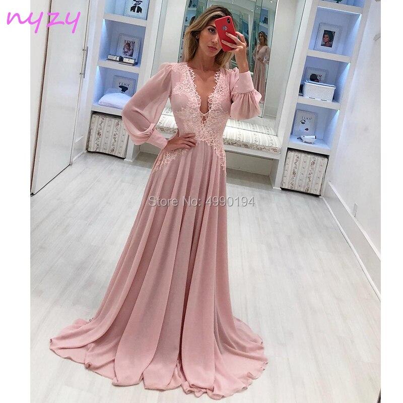NYZY E16 Sexy robes longues robe de soirée 2019 rose en mousseline de soie buste ouvert manches longues robe formelle fête de bal