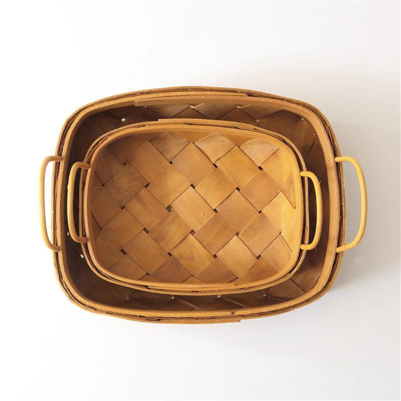 Бревно квадратная деревянная корзина ручка ручной работы корзина хлеб корзина для хранения фруктов кухонная корзинка для хранения