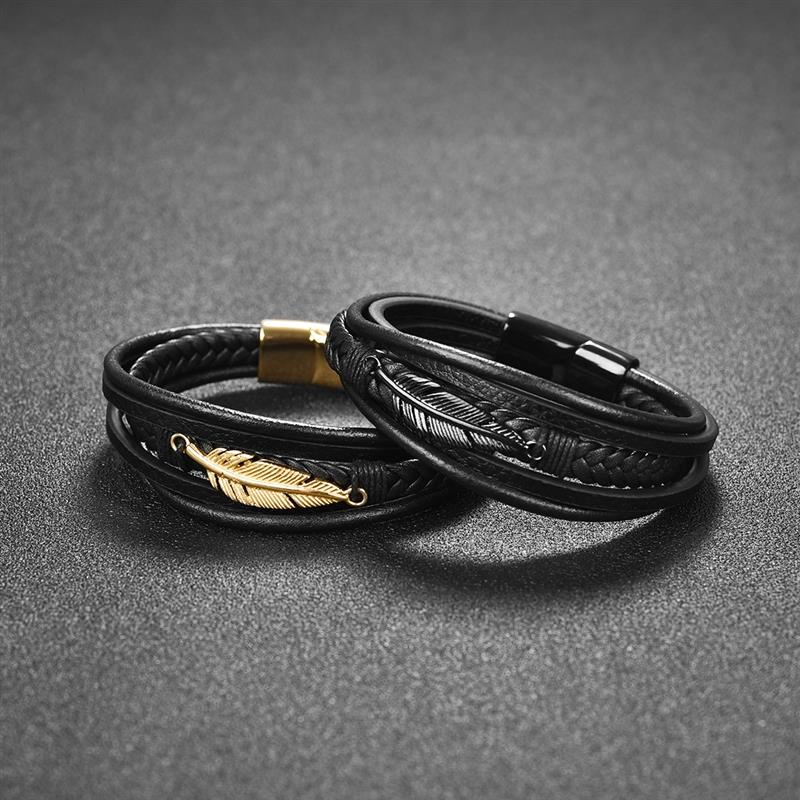 Genuine Leather Bangle Leaf Feather Multi-Layer Men Bracelet Stainless Steel Magnetic Clasp Fashion Bangles Vintage Male Jewelry