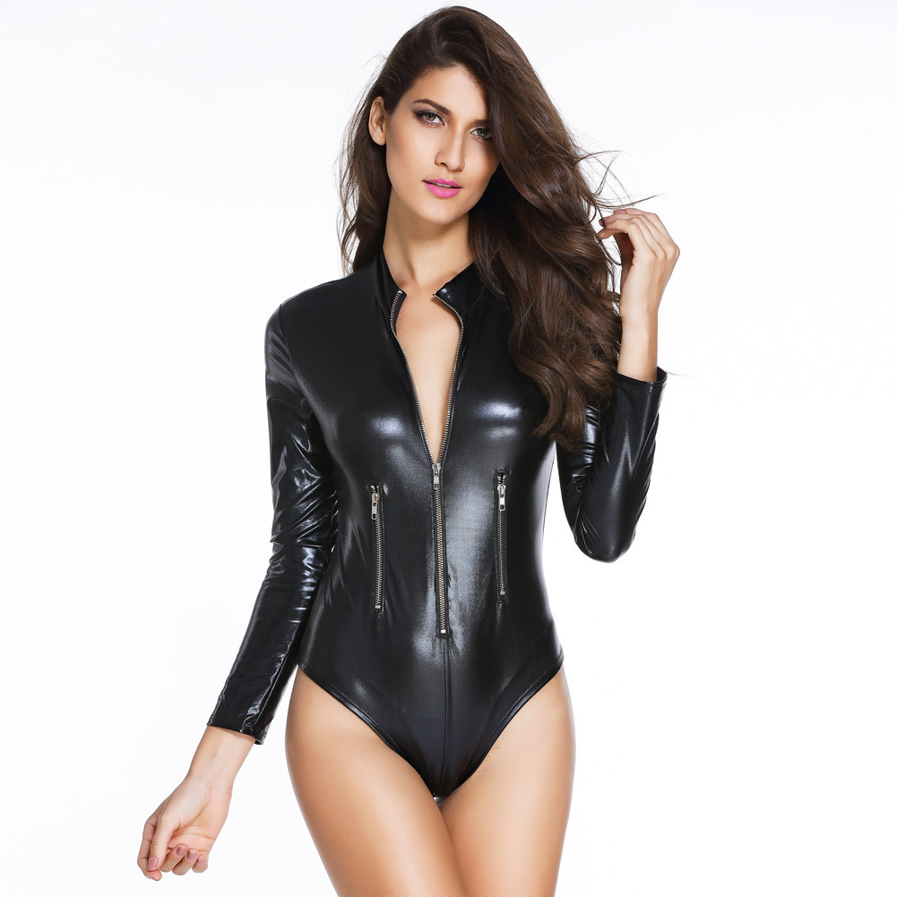 Sexy Black Tight Fit Wet Look Faux Leather Long Sleeve Catwoman Jumpsuit Catsuit Mistress Fetish Bodysuit Costume M To XL