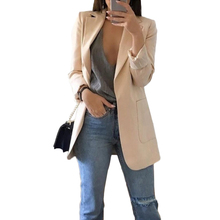 Women Casual Blazers Slim Solid Suit Coats Spring Business Top Jacket Outwear Ladies Fashion Formal OL Pockets Black Pink