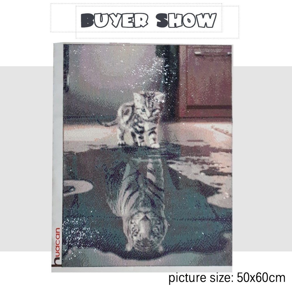 Huacan Cat Diamond Embroidery Full Kit DIY Diamond Painting Cross Stitch Animals Picture Rhinestones Mosaic Wall Decoration in Diamond Painting Cross Stitch from Home Garden