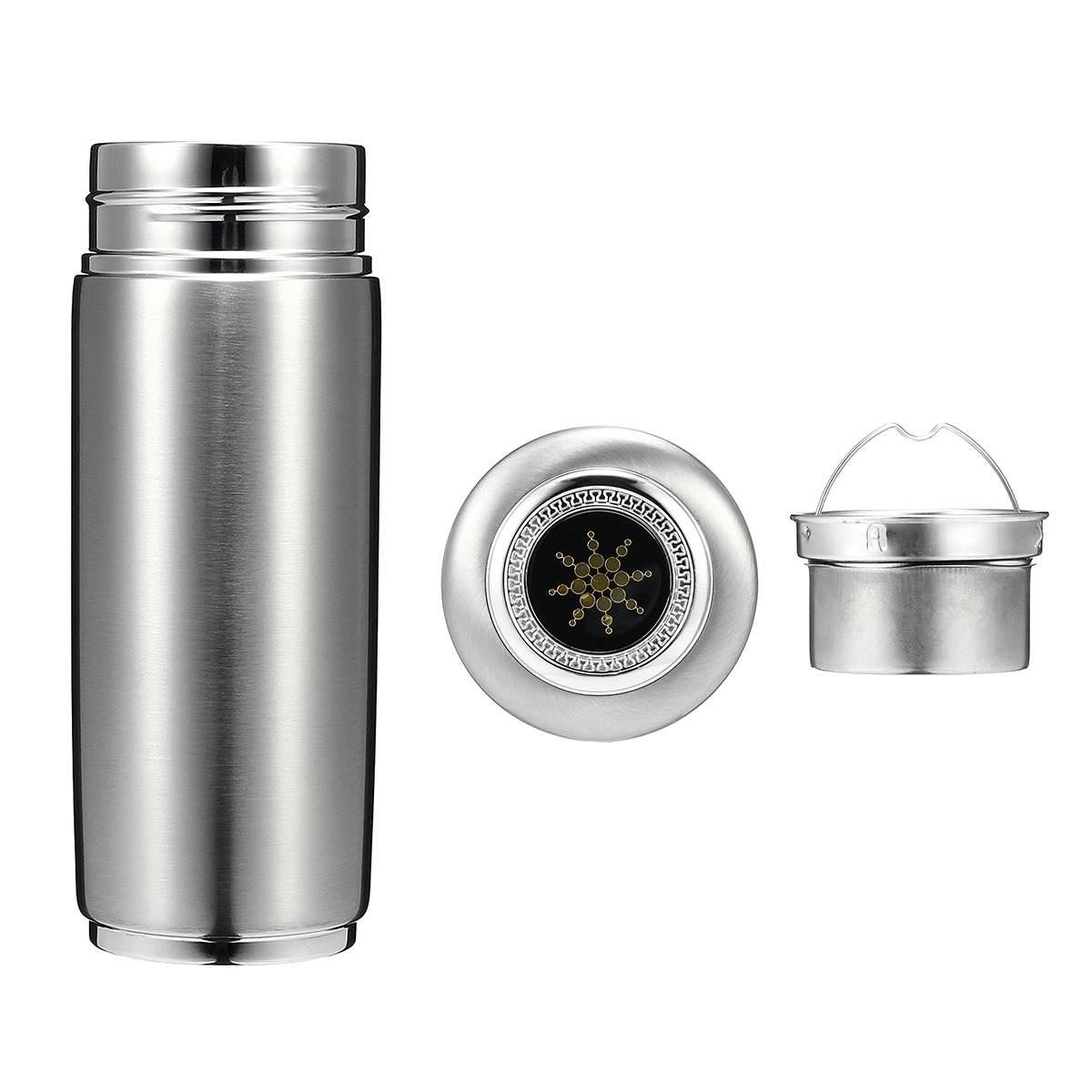 400ml Stainless Steel Quantum Alkaline Filtered Water Cup Balance Bio Energy Nanos Ionizer Flask Bot