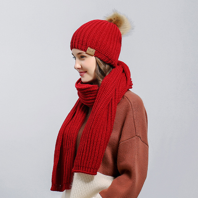 b13095b64 Sale 50% New Women's Winter Knitted Scarf Hat Set Winter Accessories 2  Pieces Thicker Hat Scarf 4colors