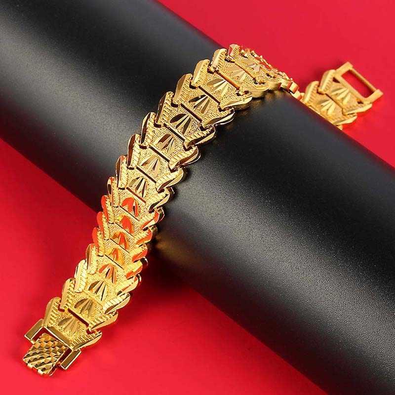 Trendy Plated 24K złota Multi shape Punk bransoletka Curb kubański łańcuch złoty kolor bransoletki dla kobiet mężczyzn biżuteria prezenty
