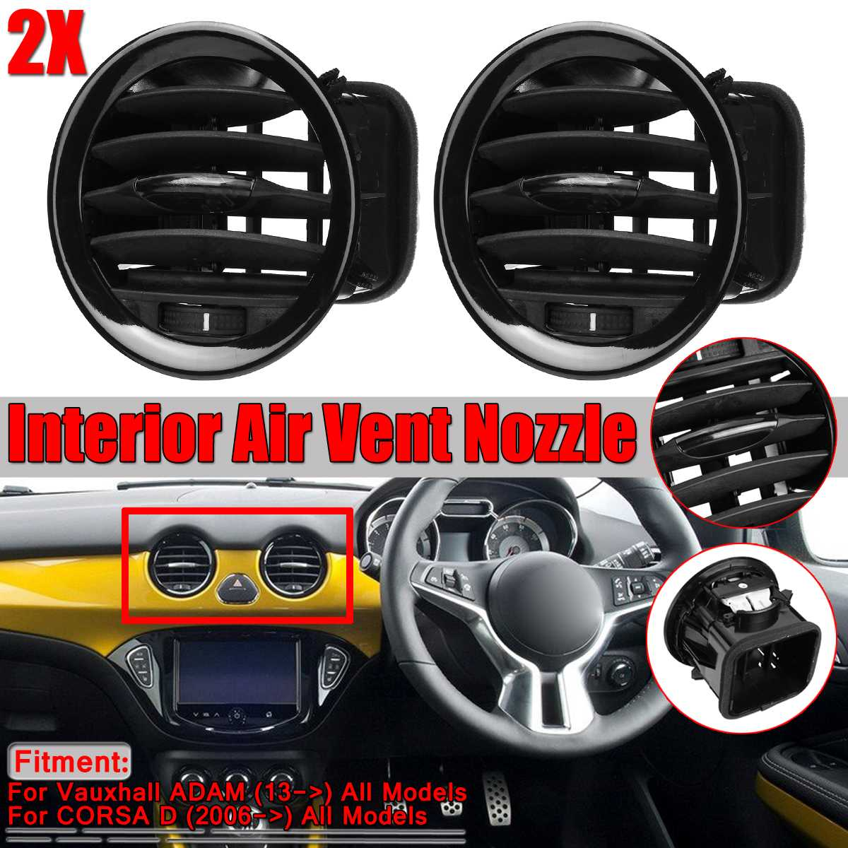 Nieuwe Auto Interieur Heater EEN/C Air Vent Cover Outlet Grille Voor Vauxhall Opel ADAM/CORSA D MK3 airconditioning Vents Trim Covers