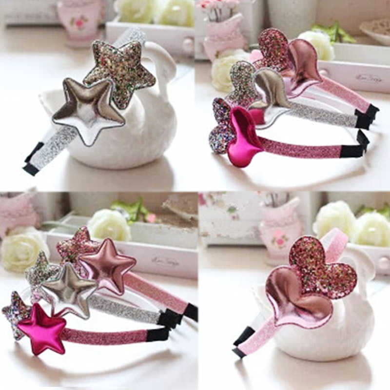 Hairband Kids Golden Unique Gifts Children 1PC Star Graceful Heart Girls Sequin Girls Rose Red Silver Wedding Party Pink
