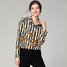 Europe Station 2019 New Pattern Fashion Shirt Self-cultivation Slim And Thin Printing Woman