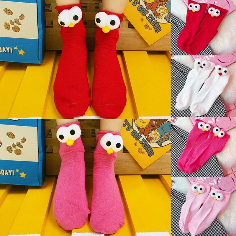 Girls Personality Big Eyes Cartoon Cotton Popular 3D Design   Socks   Creative Women 1Pair Clothing Accessory Hot Sale High Quality