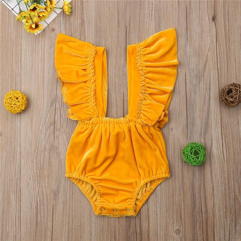 0-2years Pasgeboren Baby Baby Meisjes Vlinder Mouw Romper Ruffle Jumpsuits Outfits Fluwelen Kleding Compleet In Specificaties