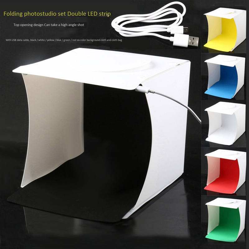 Image 2 - Mini Photo Studio Box, 8.9 X 9 X 9.5 Inch Portable Photography Light Tent Kit, White Folding Lighting Softbox With 40 Led Ligh-in Tabletop Shooting from Consumer Electronics