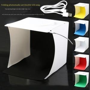 Image 2 - Mini Photo Studio Box, 8.9 X 9 X 9.5 Inch Portable Photography Light Tent Kit, White Folding Lighting Softbox With 40 Led Ligh