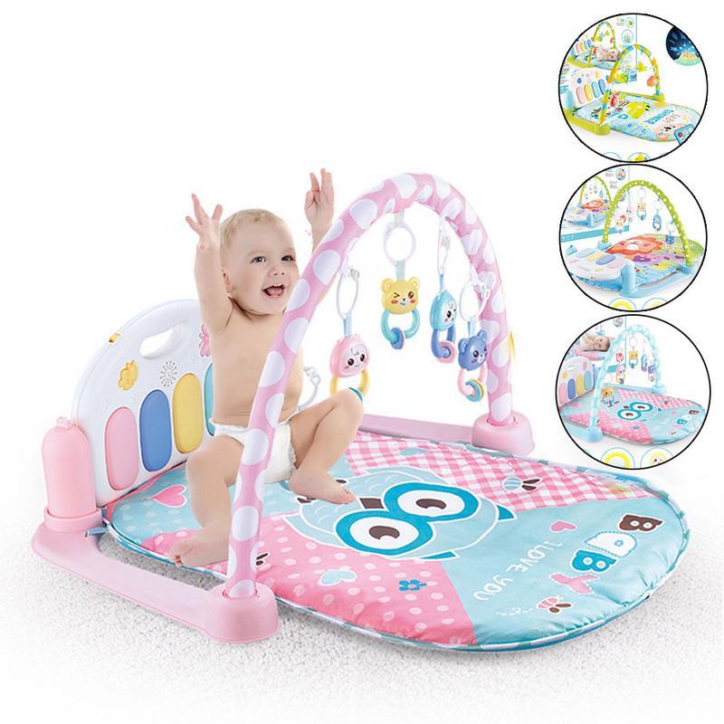 Activité bébé Gym tapis de jeu pour enfants tapis de développement hochets souples jouets musicaux tapis d'activité pour bébés jeux 0-12 mois