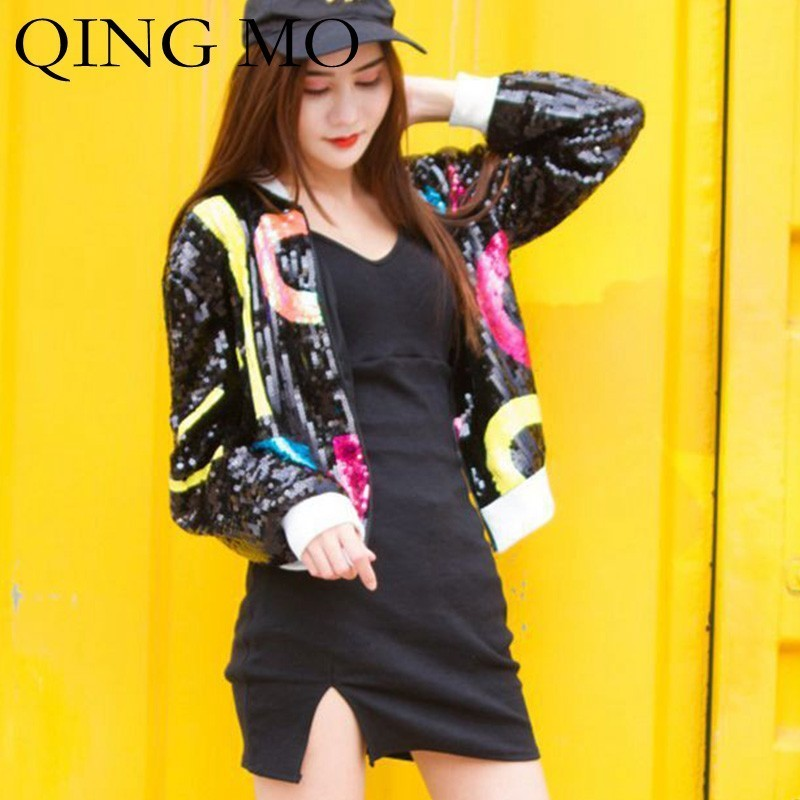 QING MO Full Sequin   Basic     Jacket   Women Pattern Sequin Black   Jacket   High Waist Long Sleeve   Jacket   Spring Zipper Coat ZLDM131