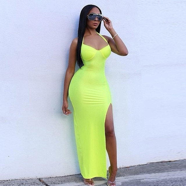 Synthetic Leather Halter Split Bodycon Kim Kardashian Outfit Dress 3