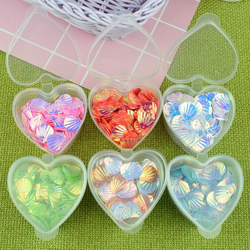 24pcs Plasticine Container Heart-shaped Box With Lid Transparent Sealed Plastic Environmental Protection Storage Box Beads Candy lid