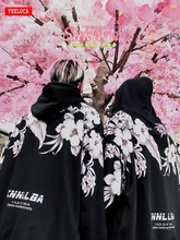 Mùa Đông 2018 Mới in Hoa dày Áo khoác nam hoodie Cotton oversize Harajuku Dạo Phố Cao Cấp Nam Nữ Top