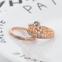 Zinc Alloy Crown Gold Engagement Ring Sets for Women Silver Rhinestone Wild Wedding Rings Party Decoration Bague Femme цена