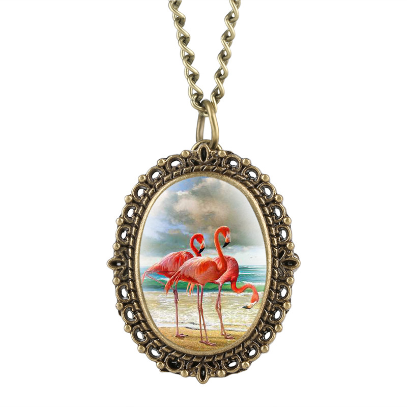 Small Delicate Women's Quartz Pocket Watch Analog Pendant Flamingo Patch Pattern Oval Tone Small Dial Gift For Pocket Watch
