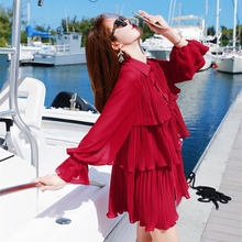 2019 Summer New Style Womens Sweet Medium Long Lapel Loose Thin Super Fairy Red Fake Two Sleeve Chiffon Shirt Top
