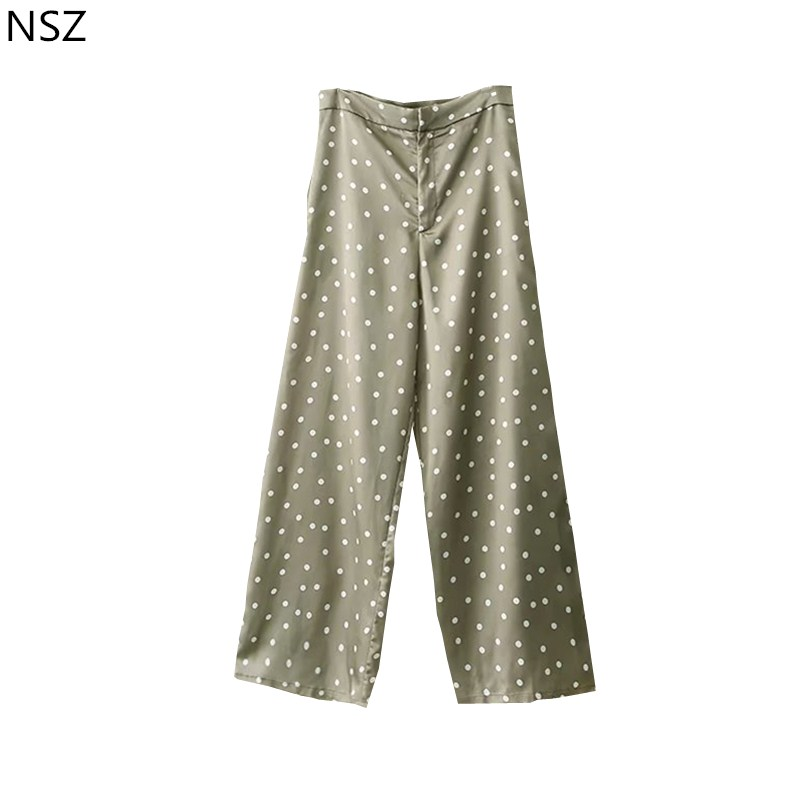 NSZ Women Satin Print Dot   Wide     Leg     Pant   Loose Casual High Waist   Pant
