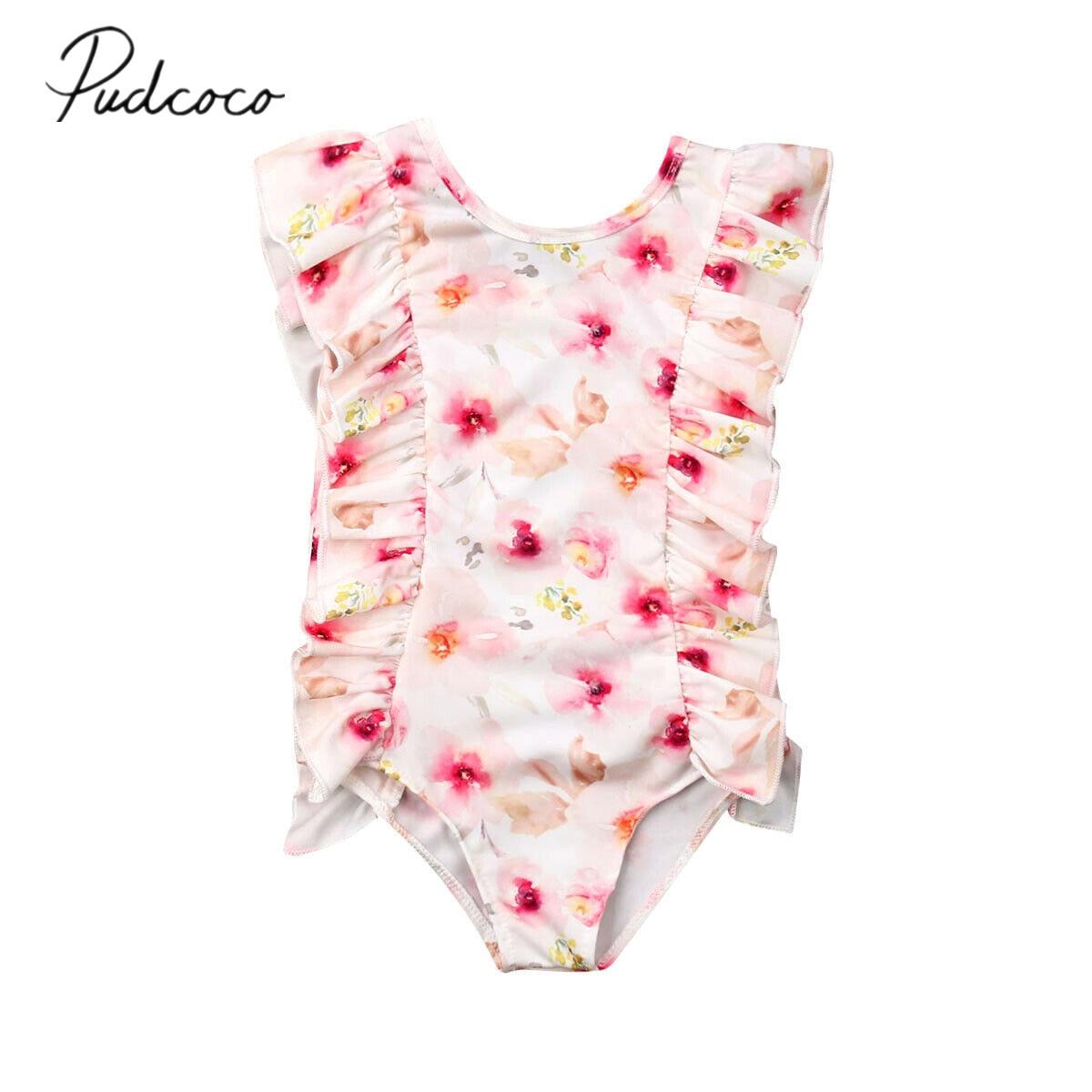 2019 Summer Swimsuit Toddler Kids Baby Girls Bikini Set Floral Lace Rulled Sleeveless Swimwear -1217