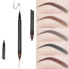 Водостойкая натуральная ручка для бровей с четырьмя когтями, тени для бровей, макияж, четыре цвета, карандаш для бровей, коричневый, черный, серый, красный, кисть, косметика