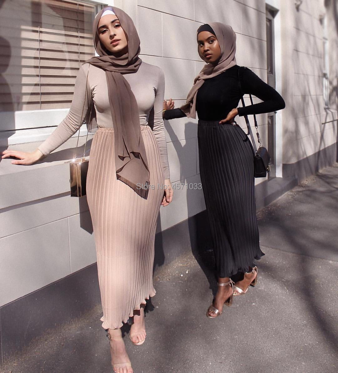Fashion Womens Pleated Skirt Chiffon Cotton Long Muslim Bottoms Ankle-Length Islamic Party Clothing Winter Free Shipping
