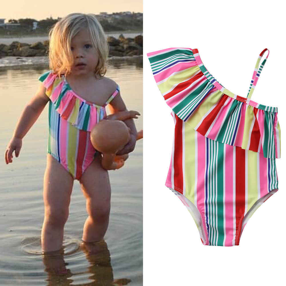 2019 nuevo estilo de moda caliente 2-7T bebé niñas traje de baño un hombro traje de baño de rayas irregulares de colores traje de baño