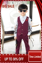 2018 New Boys Clothing Sets Autumn & Spring Vest + Pants 2PCs Boys Wedding Kids Clothes Gentleman Leisure Children Suits 3cs003 2pcs new children s leisure clothing sets kids baby boy suit vest gentleman clothes for weddings formal clothing toddler boys