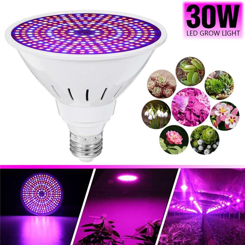 E27 LED Grow Light Bulb 30W SMD2835 Full Spectrum Plant Lamp Set For Flower Seeds Greenhouse Indoor Plants Growing AC85-265V