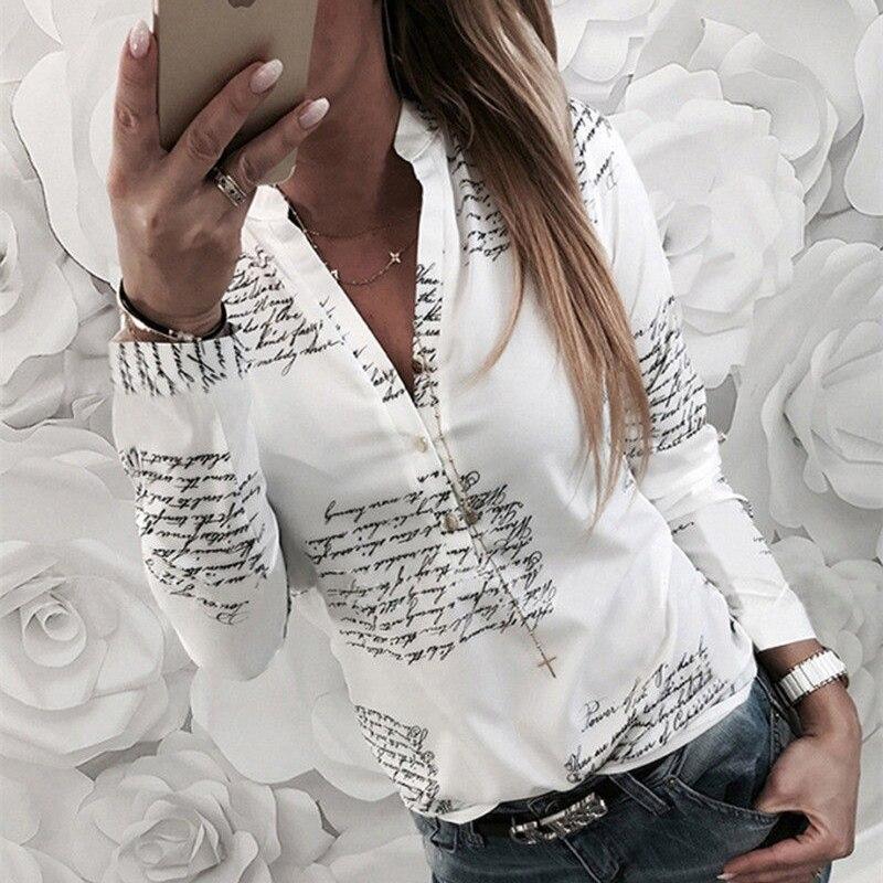 Frauen plain vogue buchstaben weiß shirts bluse weibliche beiläufige lange hülse v neck taste mode blusen hemd tops femme