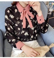 2019 Spring New Women's Korean Doll Collar Loose Blouse Female Bow Chiffon Shirt Female