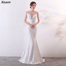 Xnxee Women Fashion Elegant White Mesh Floral Appliques Sleeveless Long Mermaid Formal Party Dress Vestido de Festa