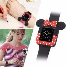 Новые часы Ремешки для наручных часов мягкие чехлы для iWatch серии 123 чехол для Apple Watch 38 мм 42 мм милые Минни корпус для мыши