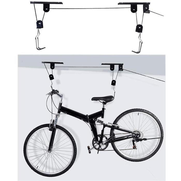 45 lbs Strong Bike Bicycle Lift Ceiling Mounted Hoist Storage Garage Hanger Pulley Rack Metal Lift Assemblies in Kickstand from Sports Entertainment