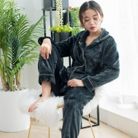 New Couple Matching Pajamas Flannel Letter Pijamas Suits Lover Pyjamas Warm Fashion Lingerie Sleepwear