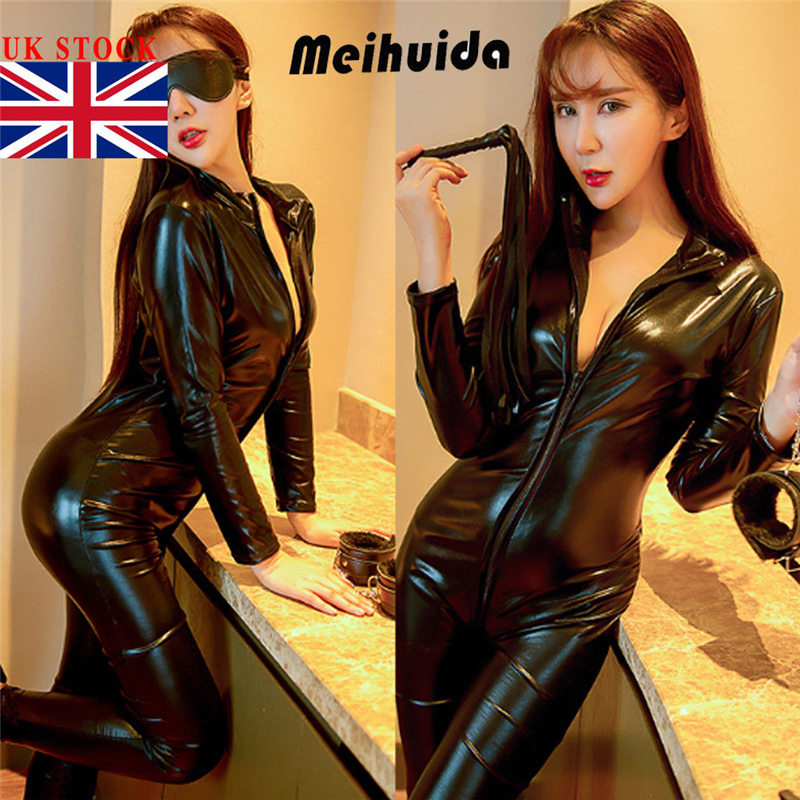 New Sexy Hot Female Jumpsuit Long Sleeve PU Leather Zipper Style Clothes Playsuit Evening Party Jumpsuit Clothes