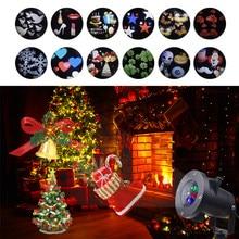 a9e1b79bb14 12 patrones de Navidad láser copo de nieve proyector LED impermeable Santa  Claus estrella luz hogar jardín exterior Navidad fies.