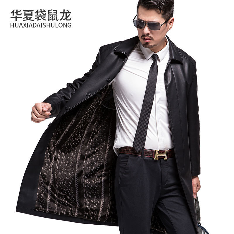 Nouveau Style hommes manteaux en cuir véritable longue section veste en peau de mouton et manteau mâle en cuir manteau Style d'hiver, veste en cuir loog - 2
