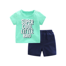 2 개/대 Summer 면 Fashion Letters Short-sleeved T-shirt + Shorts 을 의상 신생아 Baby Boys 옷 한 벌(China)