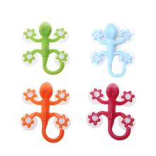 Gecko Hook With 4 Suction Cups Super Suction Cartoon Hook Silicone Durable Transparent Plastic Hooks Fashion Unique Gifts sweet lovers keys storage hooks with memo pad set suction cups 1kg max load