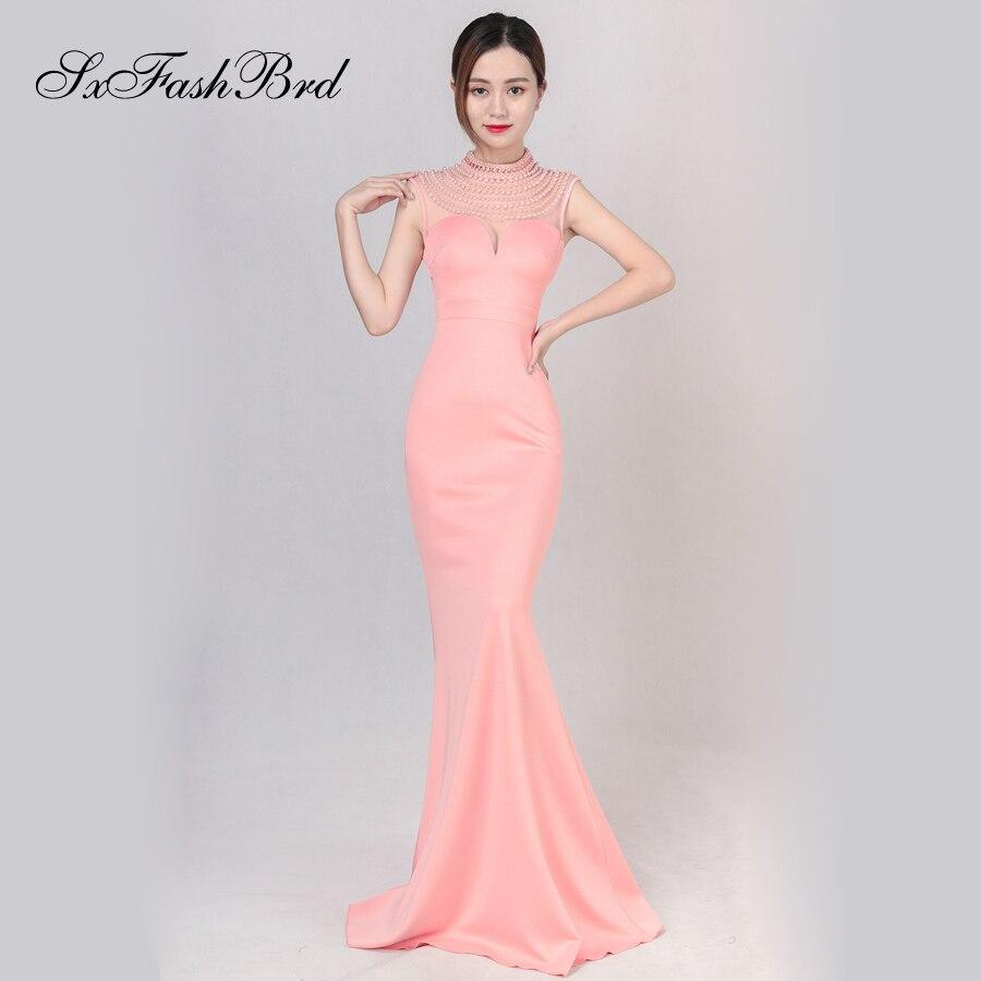 Abiti Da Cerimonia Donna New Vestido De Noche Simple Vestidos Largos Beading O Neck Mermaid Long Party Women Evening Dresses